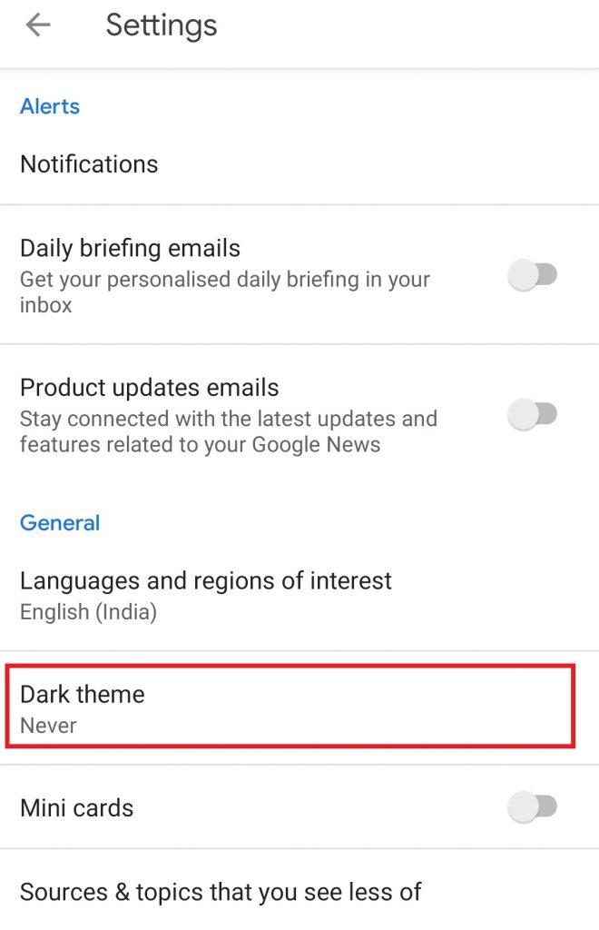 Select Dark theme option