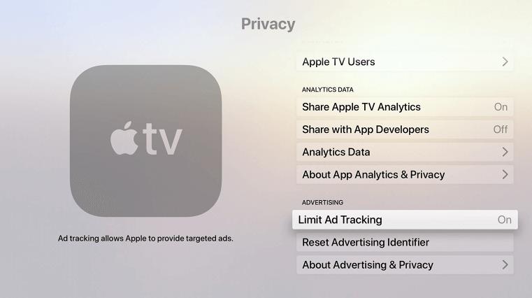 Highlight LimitAd Tracking-Block Ads on Apple TV