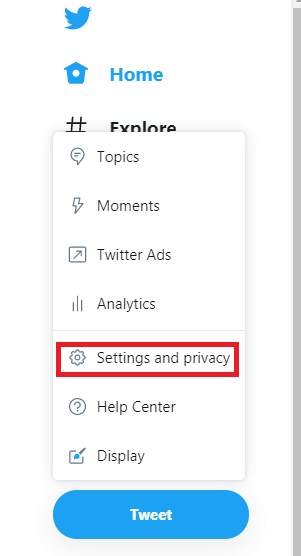 Click More and choose Settings and Privacy