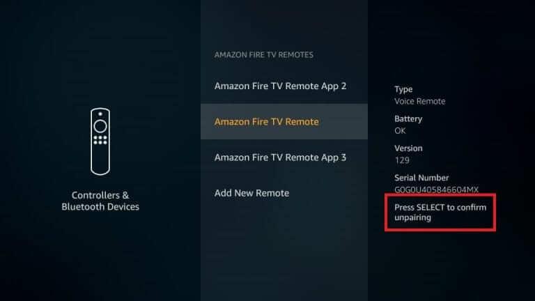 Unpair Firestick Remote
