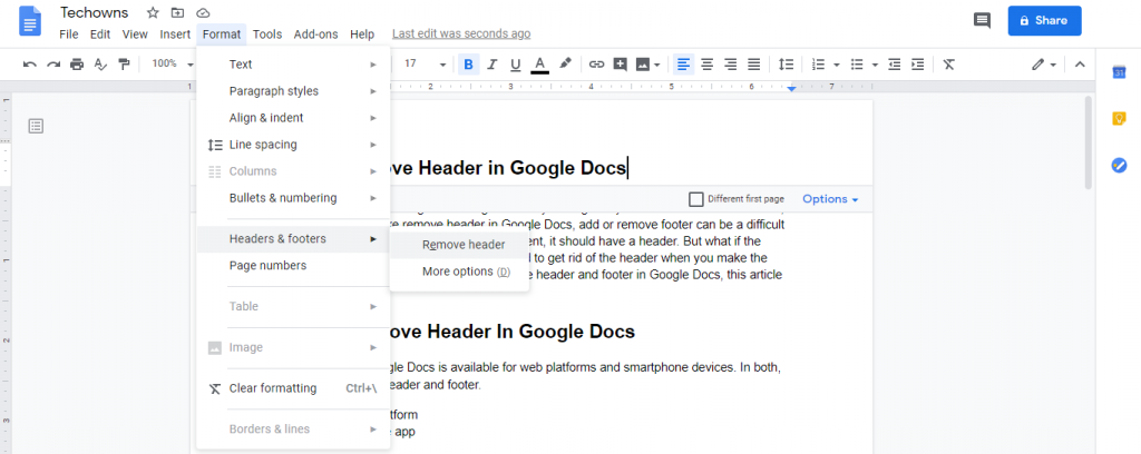 Remove Header in Google Docs