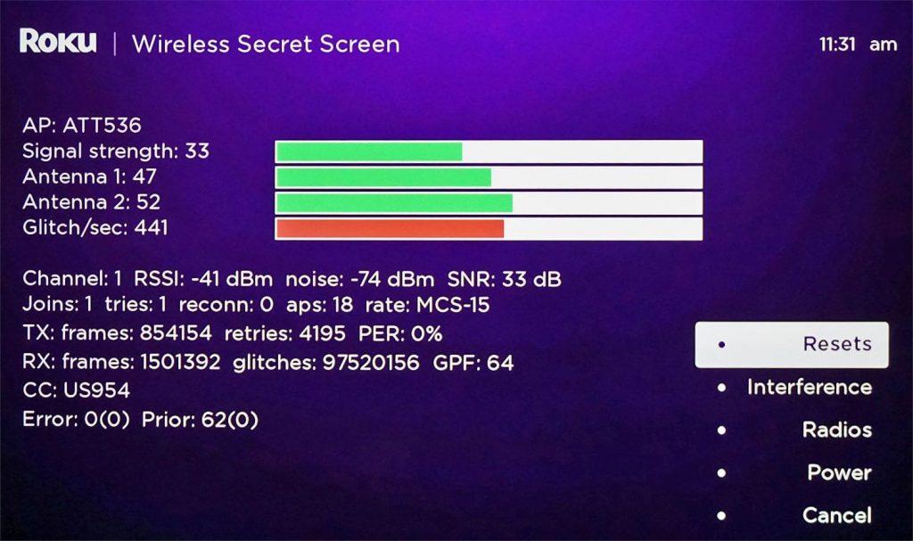Roku Secret Menu to check Signal Strength