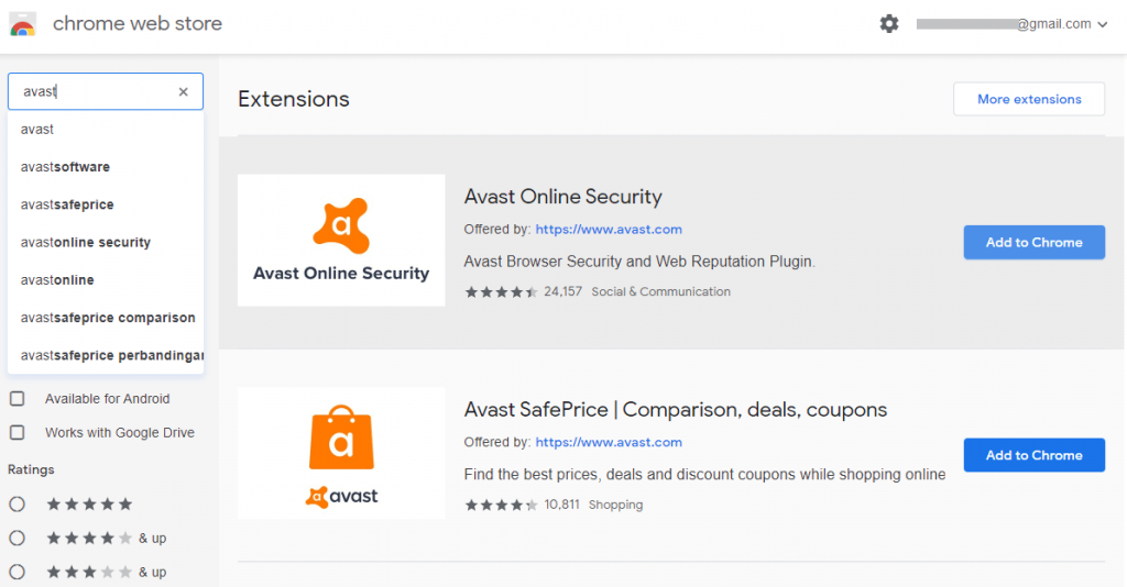 Select Avast Online Security