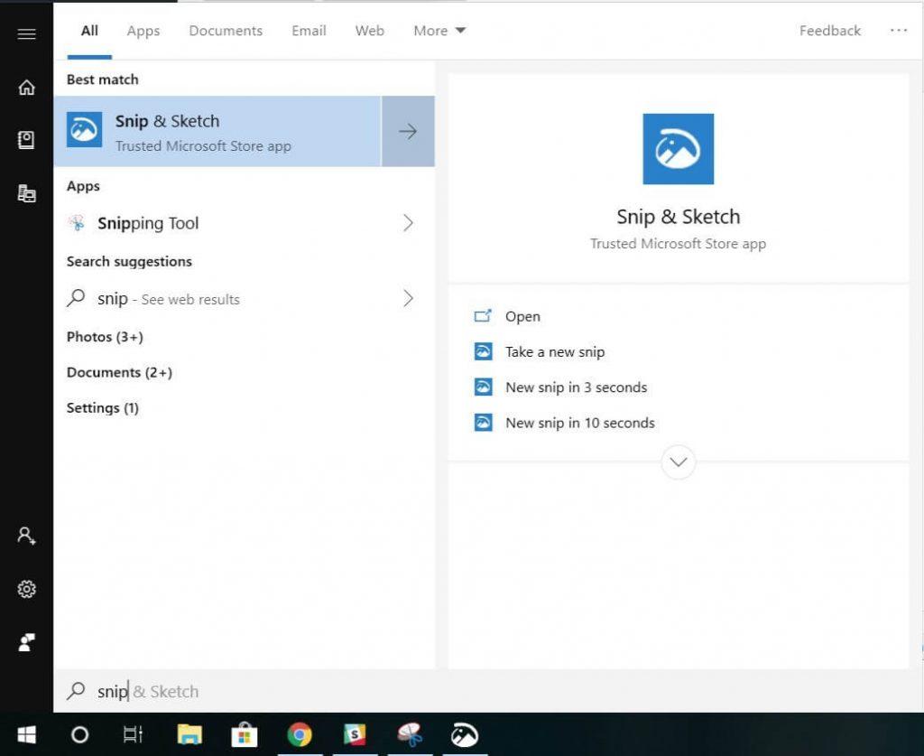 Snip & Sketch tool-Take Screenshot on Surface Pro