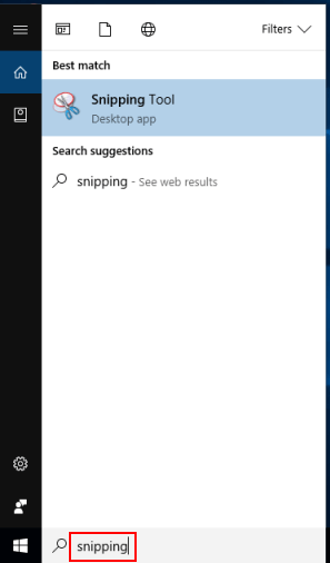 Go to Snipping tool