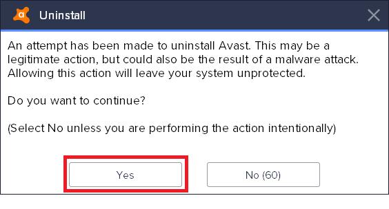 Remove Avast on Windows 10