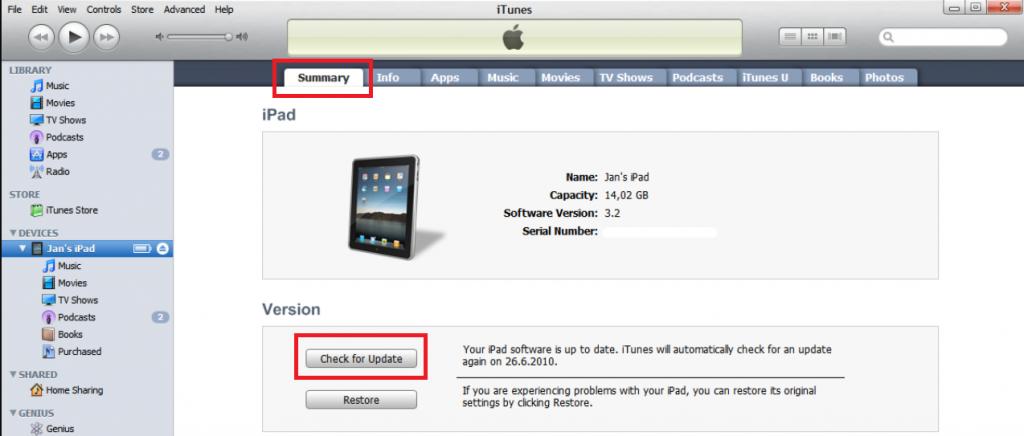 Update iPad using iTunes