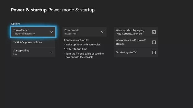 Power & startup settings