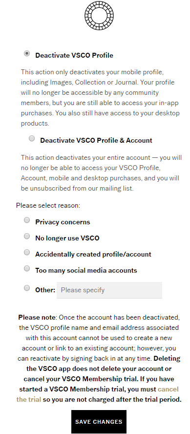 how to deactivate a vsco account