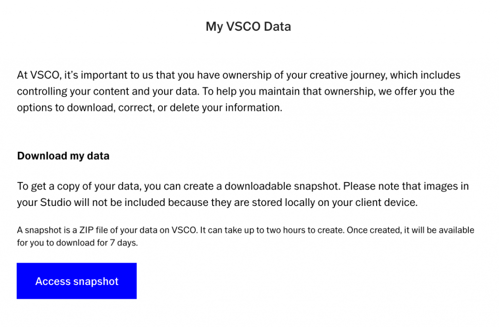 Download VSCO snapshot