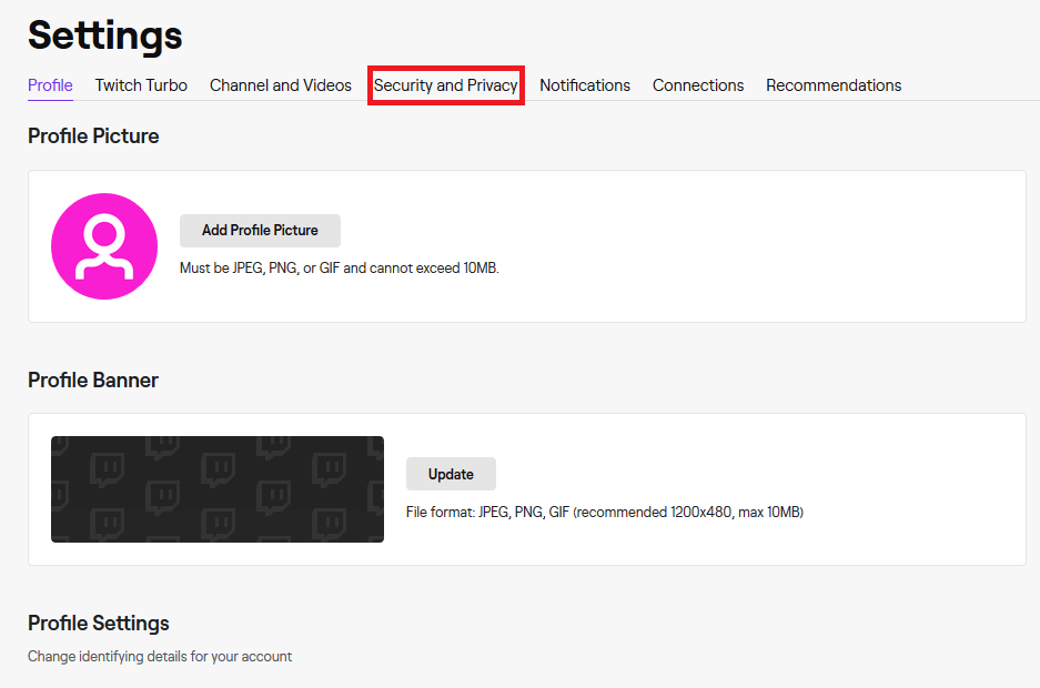 Change Twitch Password