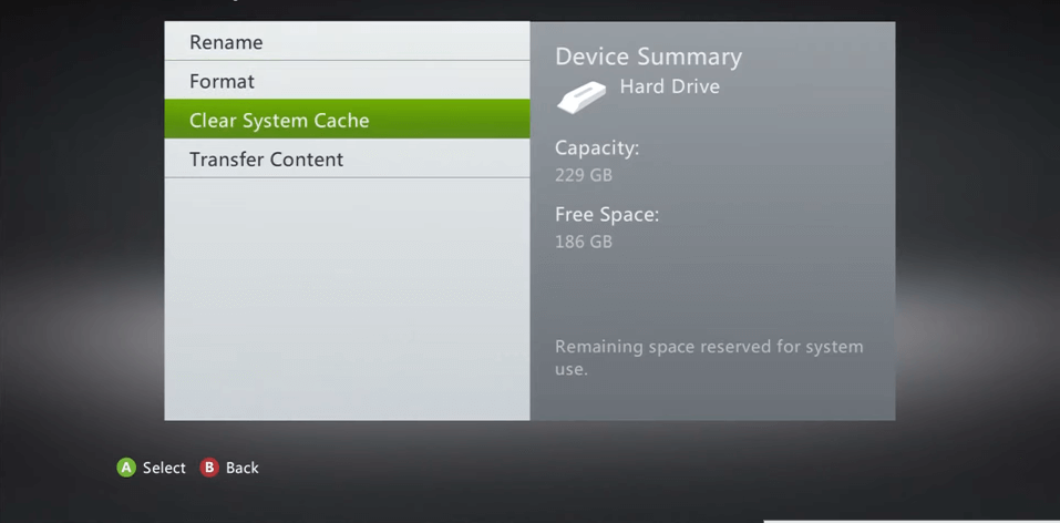 Select Clear System Cache