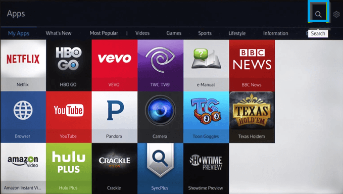 Click on Search icon-Hulu on Samsung TV