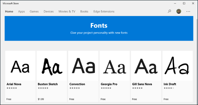 Microsoft Store Font section