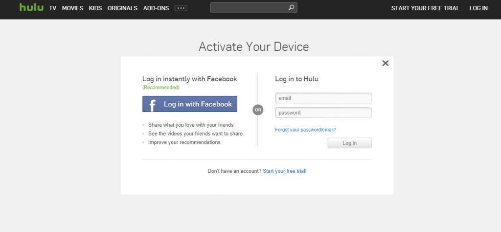 Login to Hulu to Activate Samsung TV