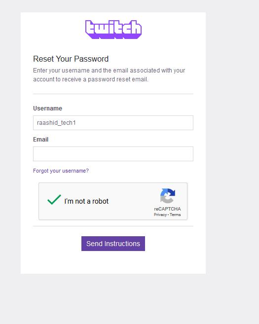 Reset Twitch Password