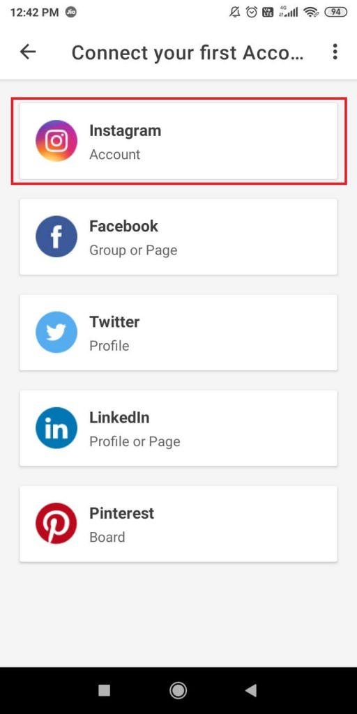 Choose Instagram account - How to Schedule Instagram Posts