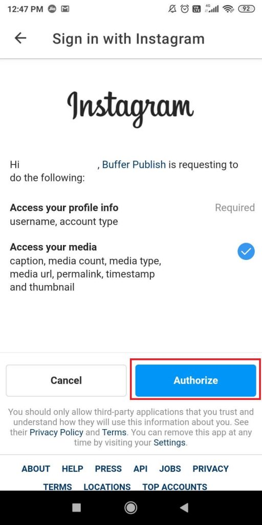 Authorize your account