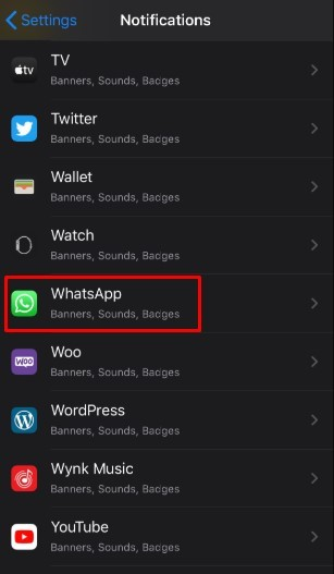 Notification settings - Turn Off WhatsApp Notifications in Iphone