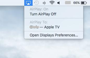 Select Apple TV on Mac-