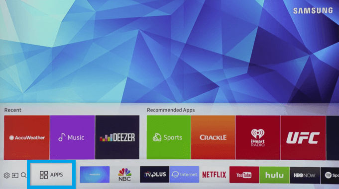 Select Apps-Hulu on Samsung TV