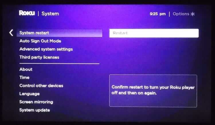 Select Restart - Roku Won't Connect to internet