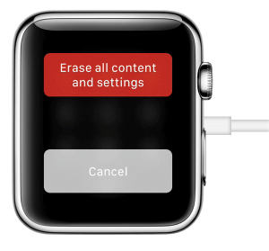 Tap on Erase all content and settings-Forgot Passcode on Apple Watch