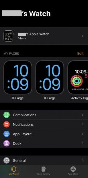 Tap on General Tab-Forgot Passcode on Apple Watch