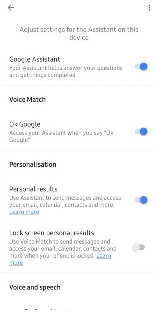 Tap the Slider next to Google Assistant