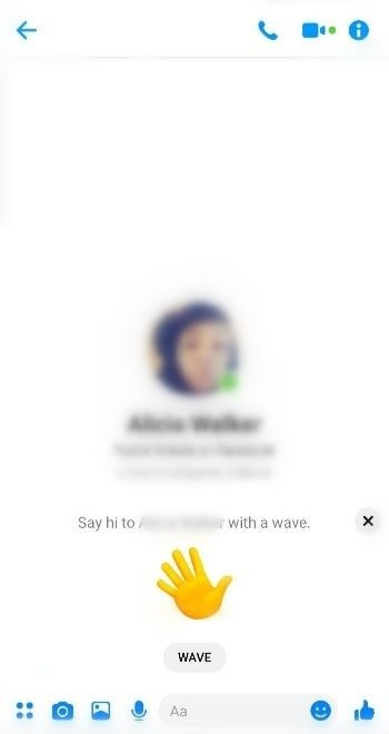 Wave on Chat section-How to Wave on Messenger