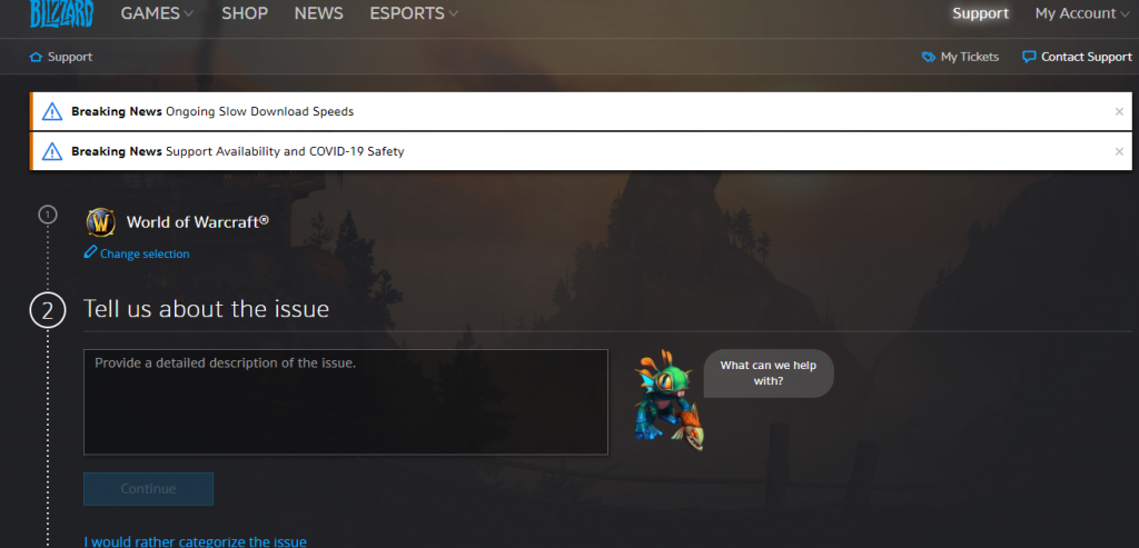 WoW Support Page-How to Cancel WoW Subscription