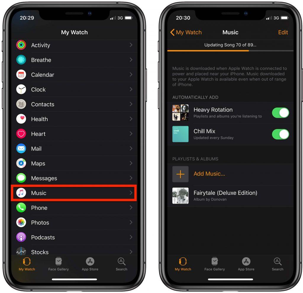 add music to apple watch