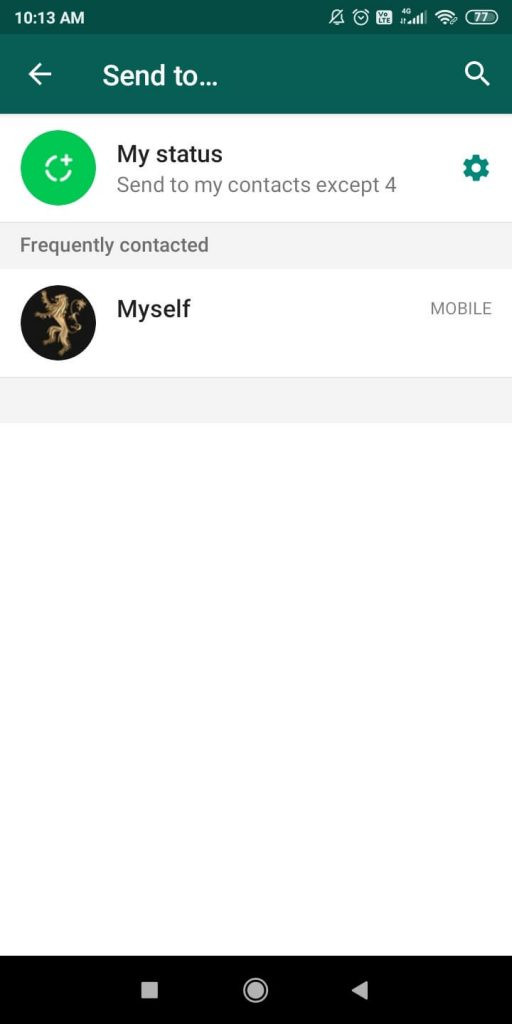 My Status option