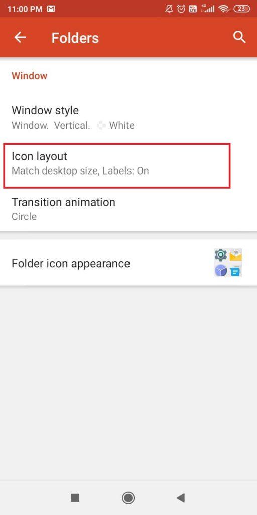 Icon Layout option