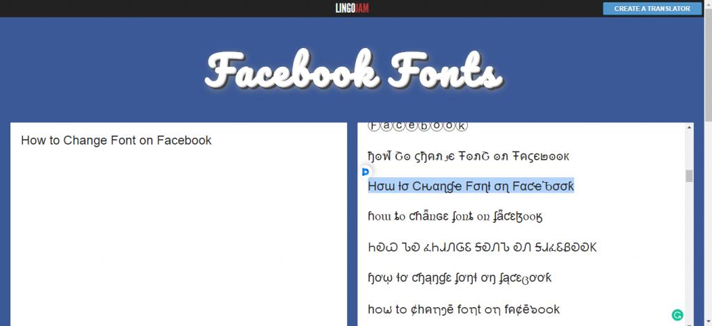 Change Font on Facebook