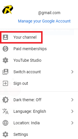 Click on Your Channel