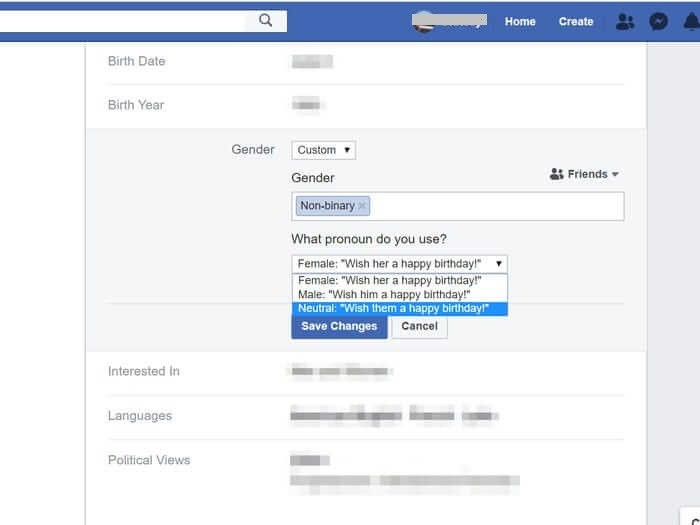 Choose Pronoun and Save to Change Gender on Facebook