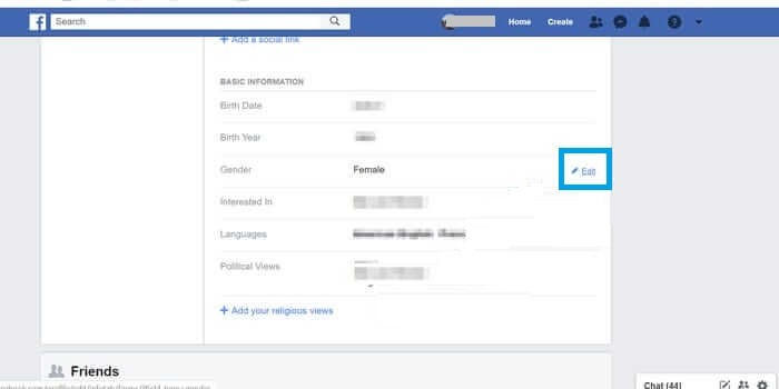 Click Edit icon to Change Gender on Facebook