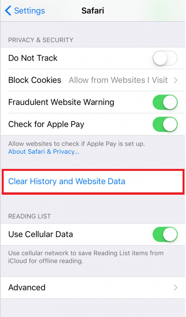 select Clear History and Website Data