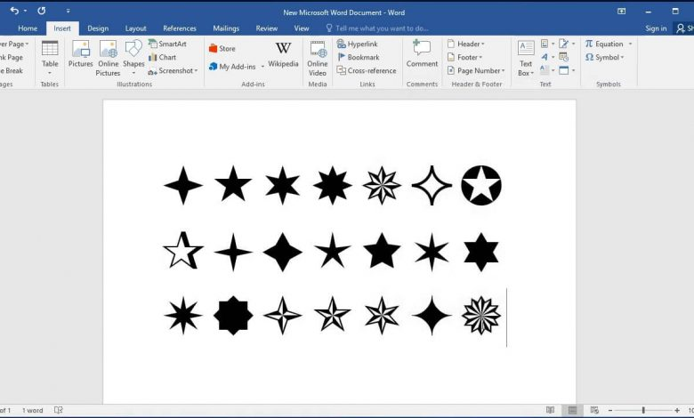 Insert Star Symbols on Keyboard