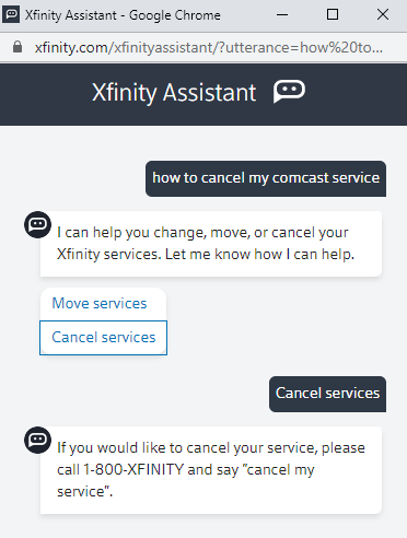 reply with cancel my service