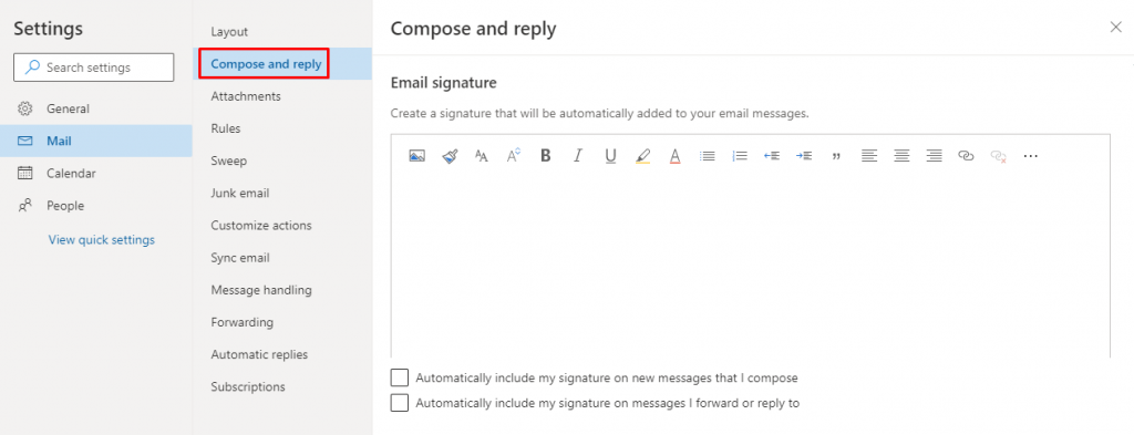 Compose and reply - How To Change Signature On Outlook