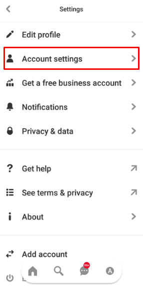Select your Account Settings