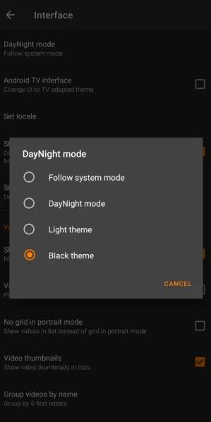 Select Black Theme to use VLC Dark Mode