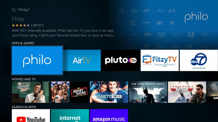 Select Philo TV
