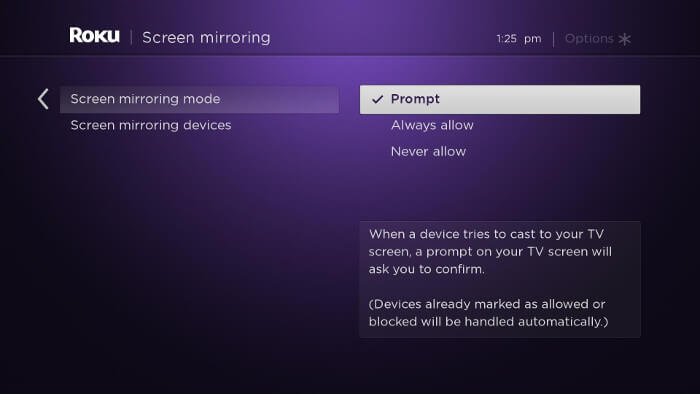 Select Screen Mirroring Mode to use Mobdro on Roku