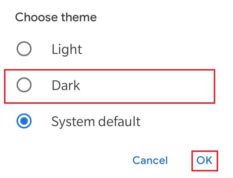 Select Dark Theme