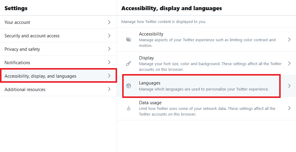 How to change language on Twitter
