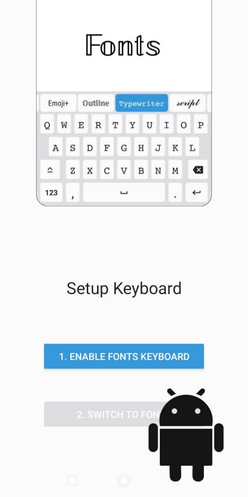 Enable Fonts Keyboard button
