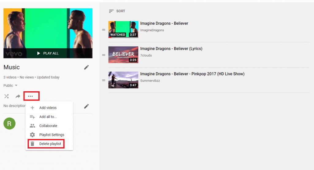 Delete the Playlist
